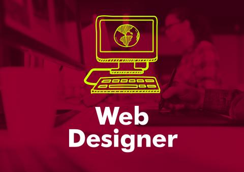 "The words ""web designer"" under an illustration of a computer."