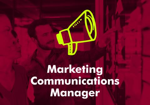 Typographic image reading marketing communications manager.