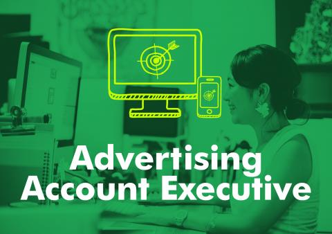 Typographic image of the words advertising account executive.