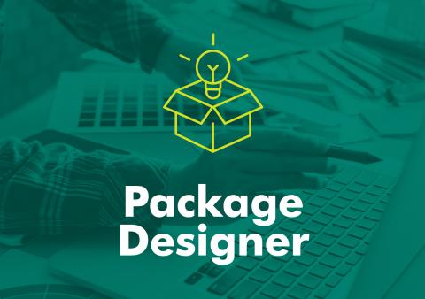 "A typographic image reading ""Package Designer"" underneath a yellow icon of a package."