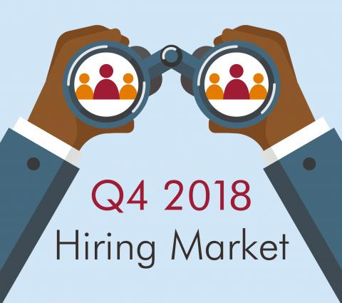 The Q4 Accountant Unemployment Rate Remains Low — graphic with hands holding binoculars and words Q4 2018 Hiring Market