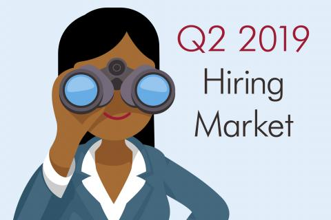 How to Make the Accountant Unemployment Rate Work for You —  graphic of dark-haired woman looking through binoculars and words Q2 2019 Hiring Market