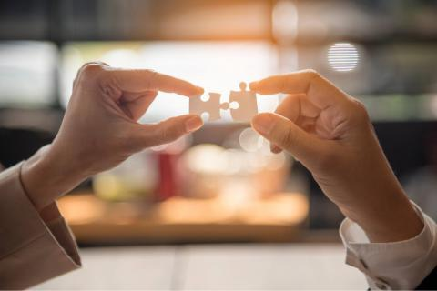 How to Work in Partnership With Your Executive Assistant — image of two hands holding puzzle pieces that fit together