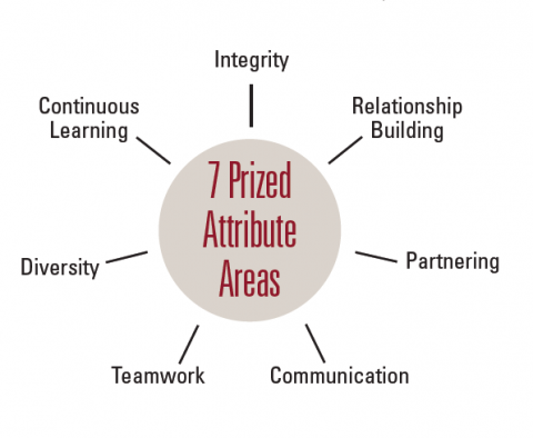 Illustration that shows 7 Prized Attribute Areas of internal auditors