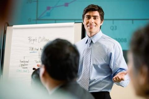 Man making presentation using the right soft skills
