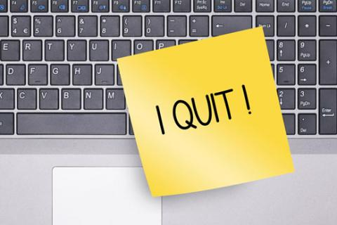 Sign on keyboard: I Quit!