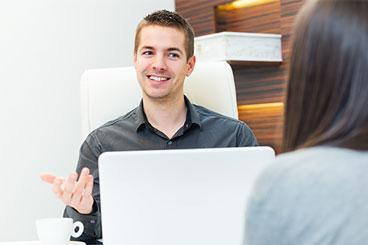 man asking behavioral interview questions