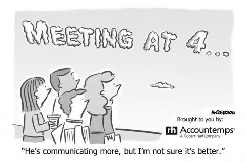 Meeting at 4 written in clouds