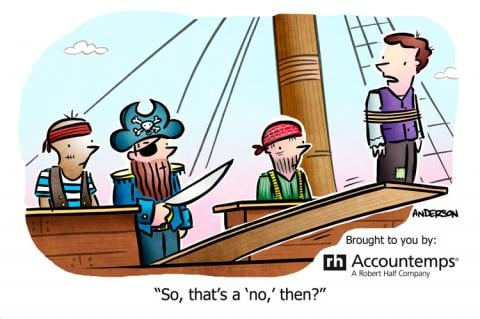 Cartoon showing a job rejection on a pirate ship