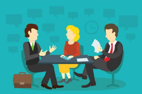 3 people at an interview session