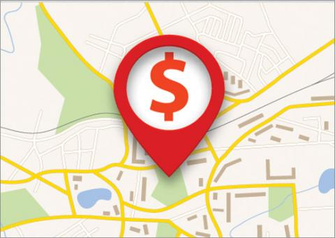 Map showing dollar sign signifying salaries by city