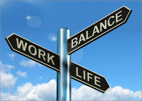 Sign that shows work-life balance at crossroads