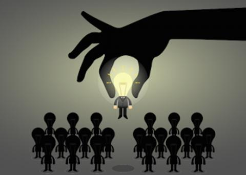 Graphic of group of people with a hand adding a lightbulb to the team