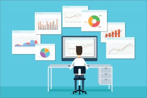 Man at desk looking at the big data above him