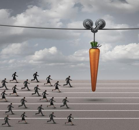 Workers chasing carrot as they learn career lessons