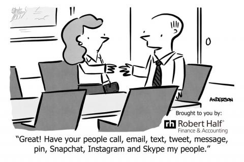 Cartoon showing trends in workplace communication