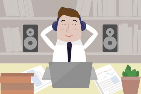 Graphic of man at desk with earphones listening to music