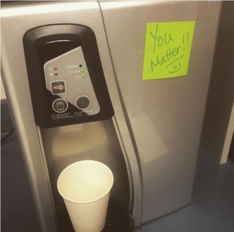 "Post-it with ""You Matter"" on refrigerator"