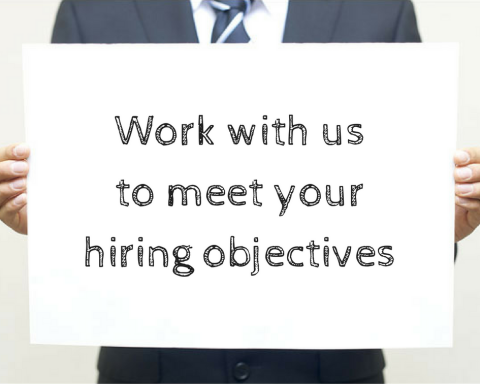 Sign reads: Work with us to meet your hiring objectives