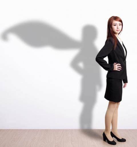 Do You Have These Excellent Customer Service Skills? — Professional woman with Superwoman shadow