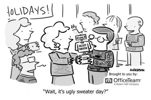 A cartoon showing an office worker who unexpectedly wins an ugly sweater competition