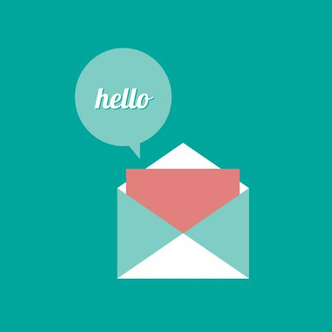 An image of an envelope and email greeting, saying hello.