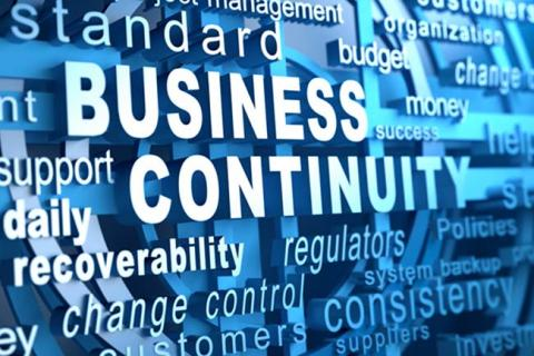 "The words ""business continuity"" appear in white over a light blue background."
