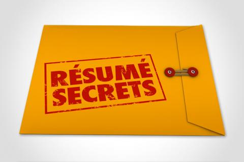 """Resume secrets"" is stamped onto a manila folder in red."