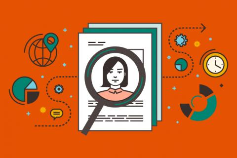 An illustration with a magnifying glass over a woman's face on a resume.