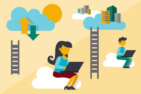 Illustration of two IT workers sitting with their laptops on clouds.