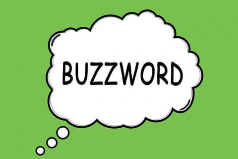 Typographic image featuring the word buzzword on a green background.