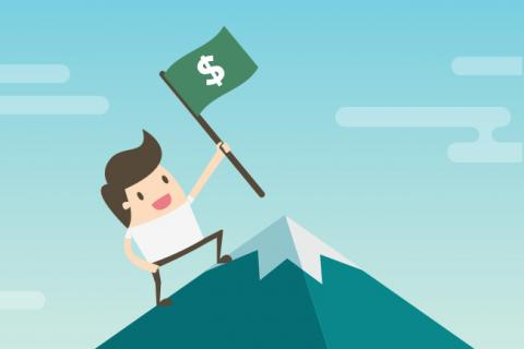 Illustration of a man climbing a mountain holding a flag with a dollar sign on it.