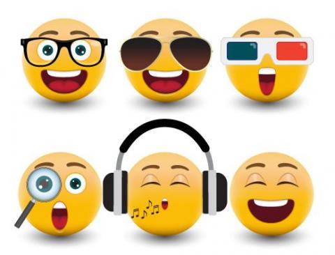 Illustration of six different emoji faces.