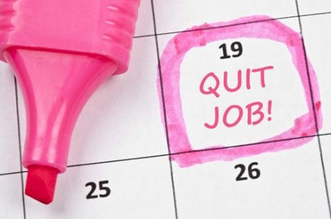 Photo of a calendar with the words quit job.