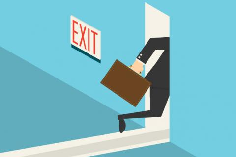 Illustration of a businessman running out a door.