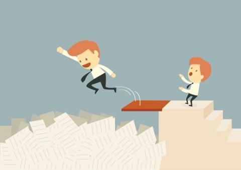 Illustration of man jumping into a pile of paperwork.