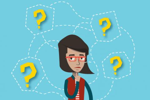 Illustration of a job seeker surrounded by question marks.