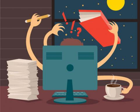Illustration of workaholic working at night.