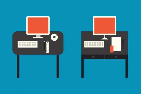 Illustration of two computers on different desks.