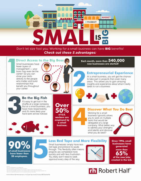 A Robert Half infographic on some of the advantages of working for a small business