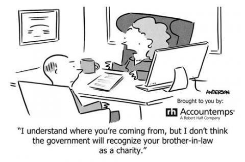Accounting humor cartoon with joke about brother-in-law as a charity