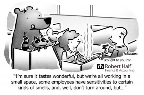 Cartoon with food and animals demonstrating office etiquette breaches