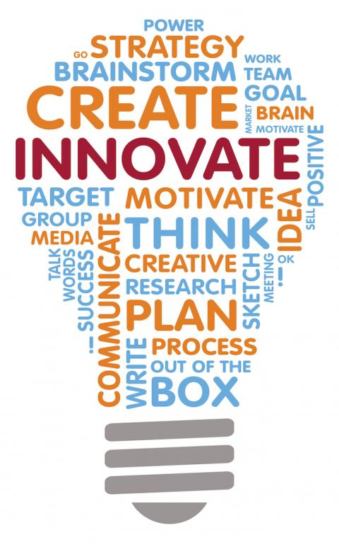 Lightbulb word cloud illustrating innovation in the workplace
