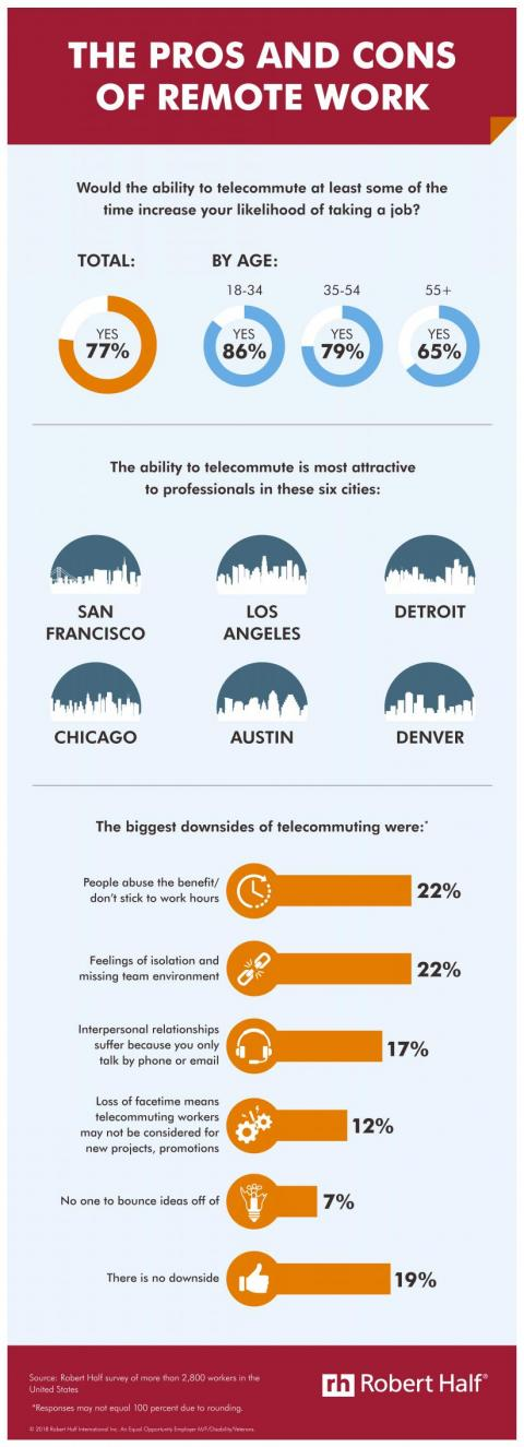 Telecommuting Programs infographic — the pros and cons of remote work