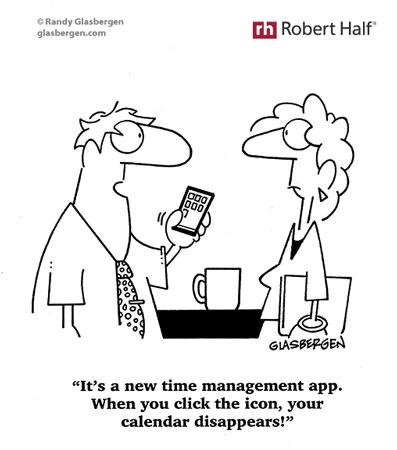 Cartoon of man with time management tool, an app that makes calendar disappear