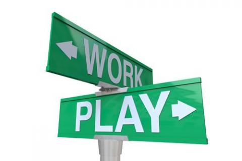 Work and Play signs to navigate to have more fun at work