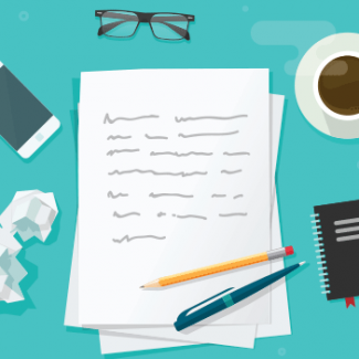 An illustration of paper and pen used for writing job descriptions