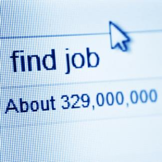 "The words ""find job"" are entered into the search field of a web browser"