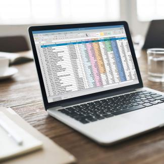 Computer displaying Excel for finance professionals