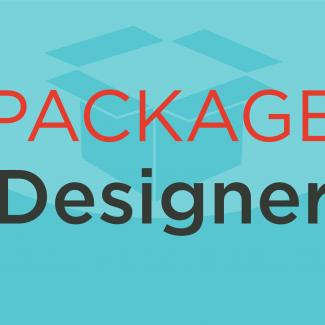 Illustration of a box with the words package designer.